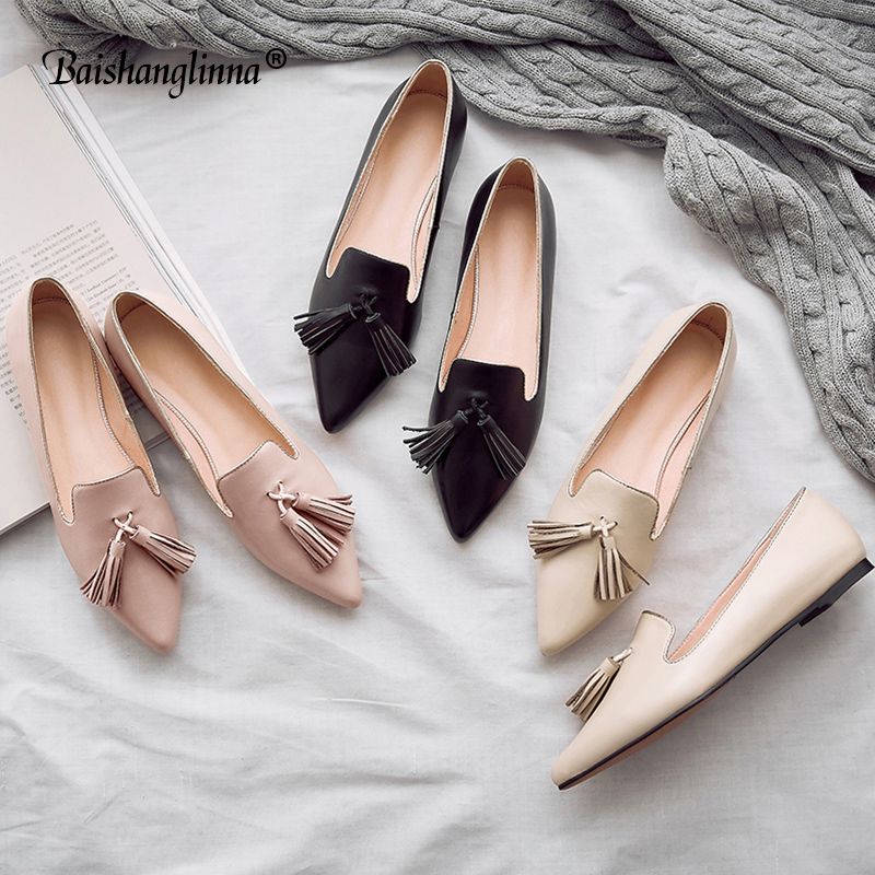 New Women Calf leather Flats Fashion High Quality Basic Solid Colors Toe Pointed Ballerina Ballet Flat Slip-On Shoes handmade new 2017 spring summer women shoes pointed toe high quality brand fashion womens flats ladies plus size 41 sweet flock t179