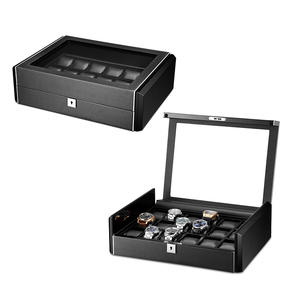 Image 5 - תיבת יוקרה שחור פחמן סיבי משטח רך גמיש שעון כריות עץ מתנת תיבת שעון