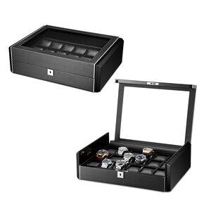Image 5 - Kutusu lüks siyah karbon fiber yüzey yumuşak esnek izle yastıklar ahşap hediye kutusu izle