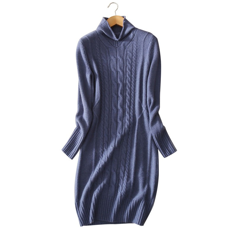100 Cashmere Blue Gray Spring Autumn Winter Knitting Dress Slim Fitting Pullover Dress Turtleneck Clothings