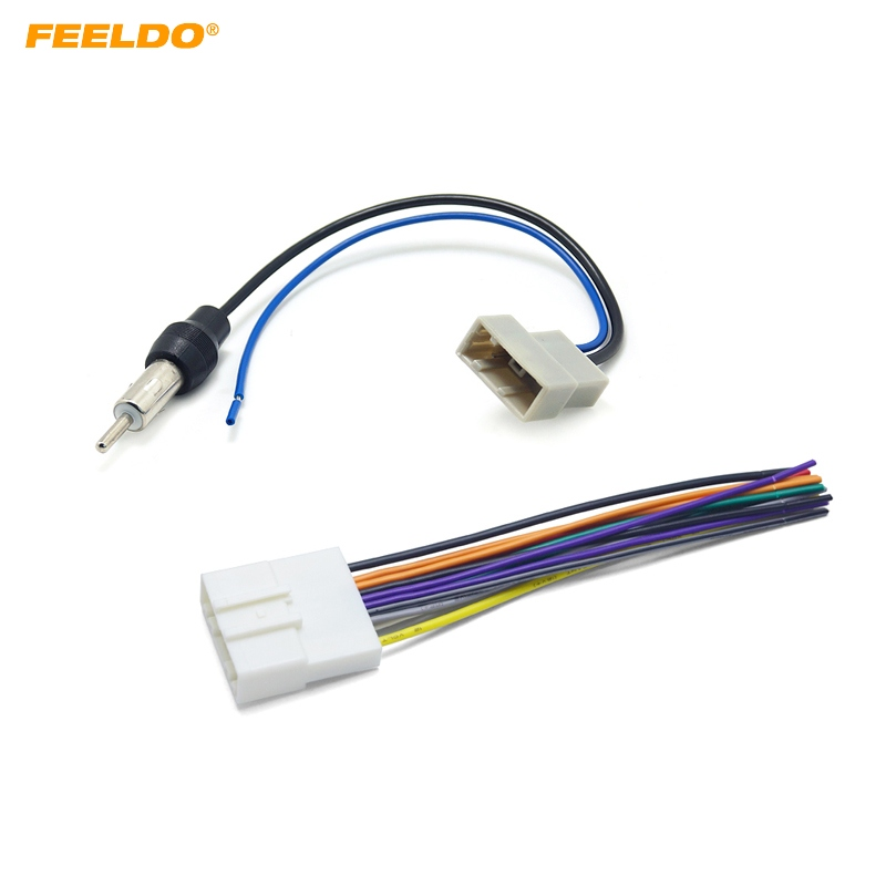feeldo 1set car cd audio stereo wiring harness antenna. Black Bedroom Furniture Sets. Home Design Ideas