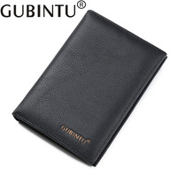 Gubintu Luxury Document Card Holder Genuine Leather Fashion Men Passport Wallet Male Purse Money Bag Perse