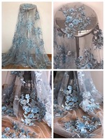 2018 STYLE Haute couture French lace delicate BLUE 3D sequined flower heavy embroidered tulle bridal lace fabric with 3D flowers