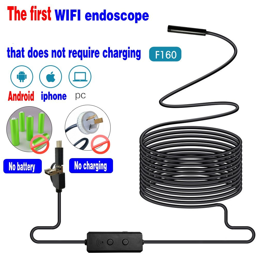 3in1 WIFI Endoscope Camera Mini Waterproof Hard Cable Inspection Camera 8mm USB Endoscope Borescope IOS Endoscope For Iphone