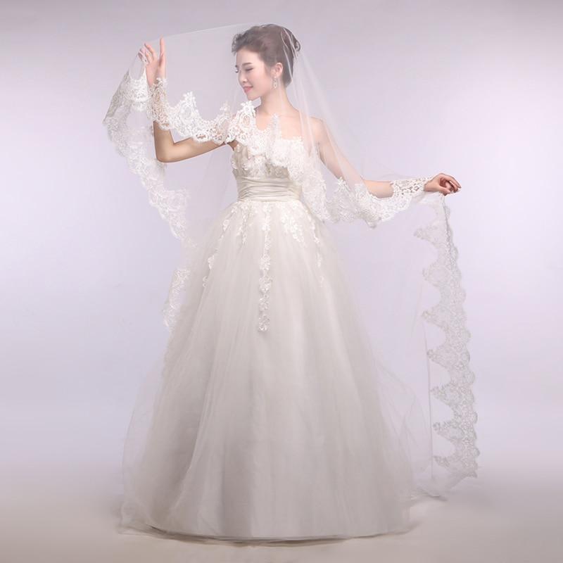 Свадебное платье для невесты, качественное ультраяркое кружевное украшение 2,7 м, свадебная вуаль