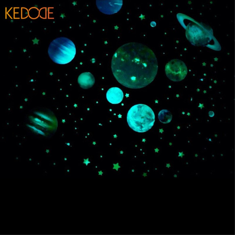 KEDODE Cosmic Galaxy sticker planet luminous fluorescent creative stickers glowing in the dark children's room decals sticker