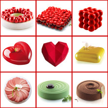 Diniwell Cake Decorating Mold 3D Siliconen Mallen Bakken Tools Voor Hart Ronde Cakes Chocolade Brownie Mousse Maken Dessert Pan(China)
