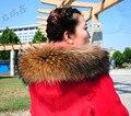 Gran Tamaño de Lujo Genuino Verdadero Mapache Color Natural de Calidad Superior Capucha de piel Recorte Cuello Bufandas de La Bufanda de La Estola Del Cabo ajuste