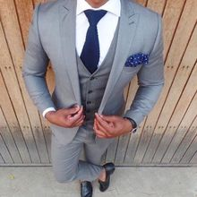 2017 Latest Coat Pant Design Light Grey Men Suit Slim Fit Skinny 3 Piece Blazer Groom Style Suits Custom Tuxedo Terno Masculino