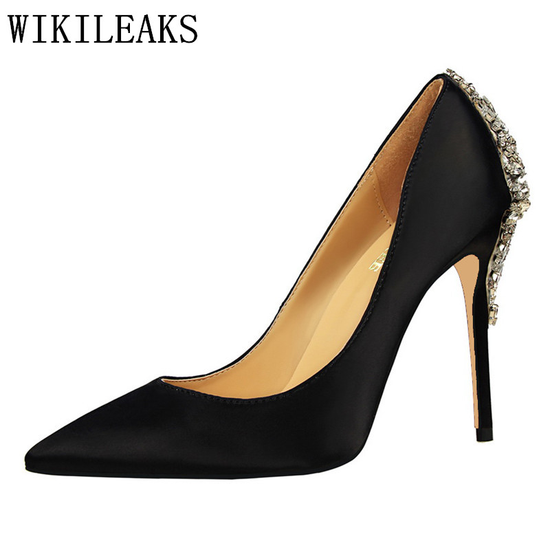 women shoes 2017 sexy pumps silk pointed toe wedding shoes rhinestone luxury brand designer ladies crystal high heel shoes black kitfort блендер стационарный кт 1301 1000 вт