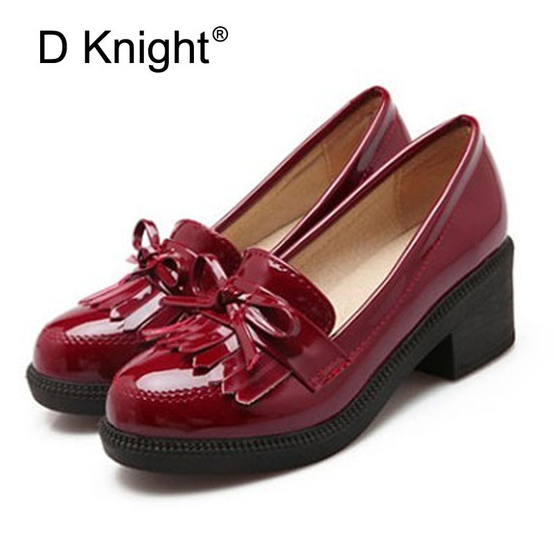 Sweet Patent Shallow Mouth Slip-on Women Oxfords Fashion Tassel Round Toe Thick Heels Women Casual Shoes High Heels Shoes Woman fashion brand slip on shallow round toe crystal bowtie med diamond thick heels women pumps sweet office lady runway shoes l15