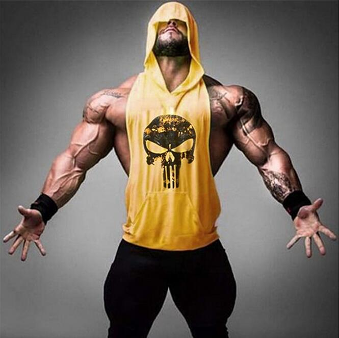 Summer Mens   Tank     Top   Bodybuilding Stringer Hoodies Sleeveless Singlets Fitness clothing Skull Shirt Sexy jersey mens hoody