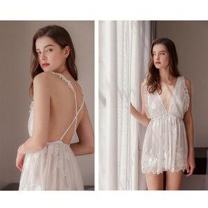 Image 5 - Munllure สุภาพสตรีลึก V nightdress ปักสีขาวมุมมอง lace Nightie ชุดชั้นในสตรีเซ็กซี่ Bra Linger