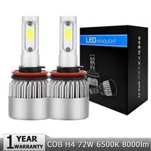 Elglux S2 Auto Car H4 H7 LED Headlights 6500K 8000LM 12V COB Bulbs Hi Lo beam 2 / 3 Diodes White Automobiles Near Far Light