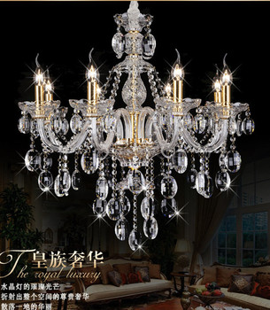 Lawrence 8-arm antique emas lilin Led chandelier kristal cahaya hotel villa salon batal kristal liontin chandelier candelabro