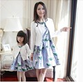 952# Matching Mother Daughter Clothes Printed Dresses + Coats Mom and Daughter Dress 2015 Spring and Summer Family Look Outfits