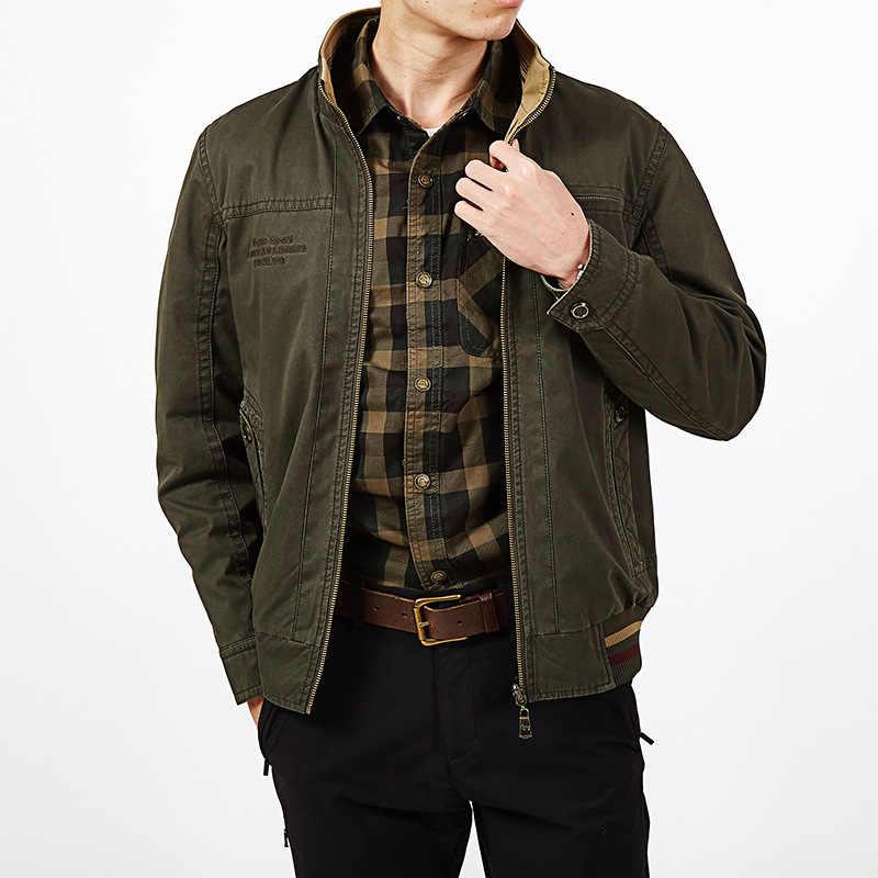 Брендовая куртка Для мужчин Двусторонняя Куртка Для мужчин военные куртки пальто мужской 100% хлопок сплошной Jaqueta Masculina плюс Размеры L-5XL