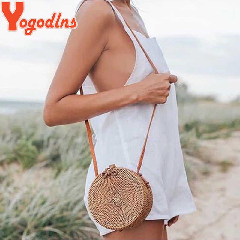 Yogodlns 2019 Bulat Jerami Tas untuk Wanita Musim Panas Rotan Anyaman Tas Buatan Tangan Tenun Crossbody Bahu Tas Bohemia Tas Tangan