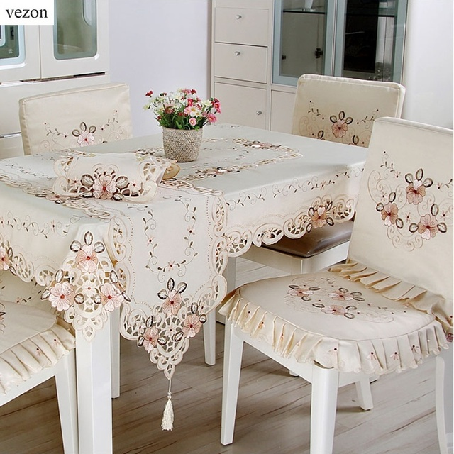 Good Vezon New Hot Elegant Polyester Satin Embroidery Floral Tablecloths  Handmade Embroidered Flower Table Cloth Cover Overlays