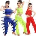 Цвета Samba Латинской танцевальная одежда костюмы Девушки Сальса бальные Бахрома отделка dance Top & Брюки костюм Взрослых Бальные танцы платье