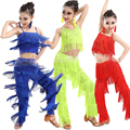 Cores trajes Meninas de salão Salsa Samba dancewear Latina Fringe guarnição dança Top & Pants traje Adulto dança de Salão vestido