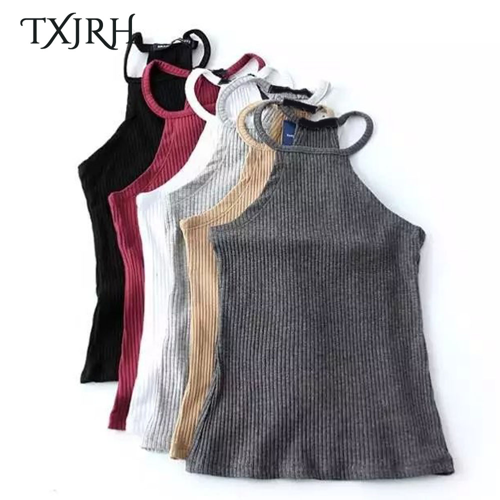 TXJRH Sexy Women Fitness Slim fit Tight Camis Spaghetti Strap Crop Tops Tank Knitted Ribbed Striped Line Short Tee 5 Colors