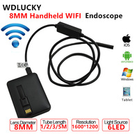 5 5MM Handheld Cable WIFI Endoscope 1 2 3 5M With 6LED Android IOS Phone USB
