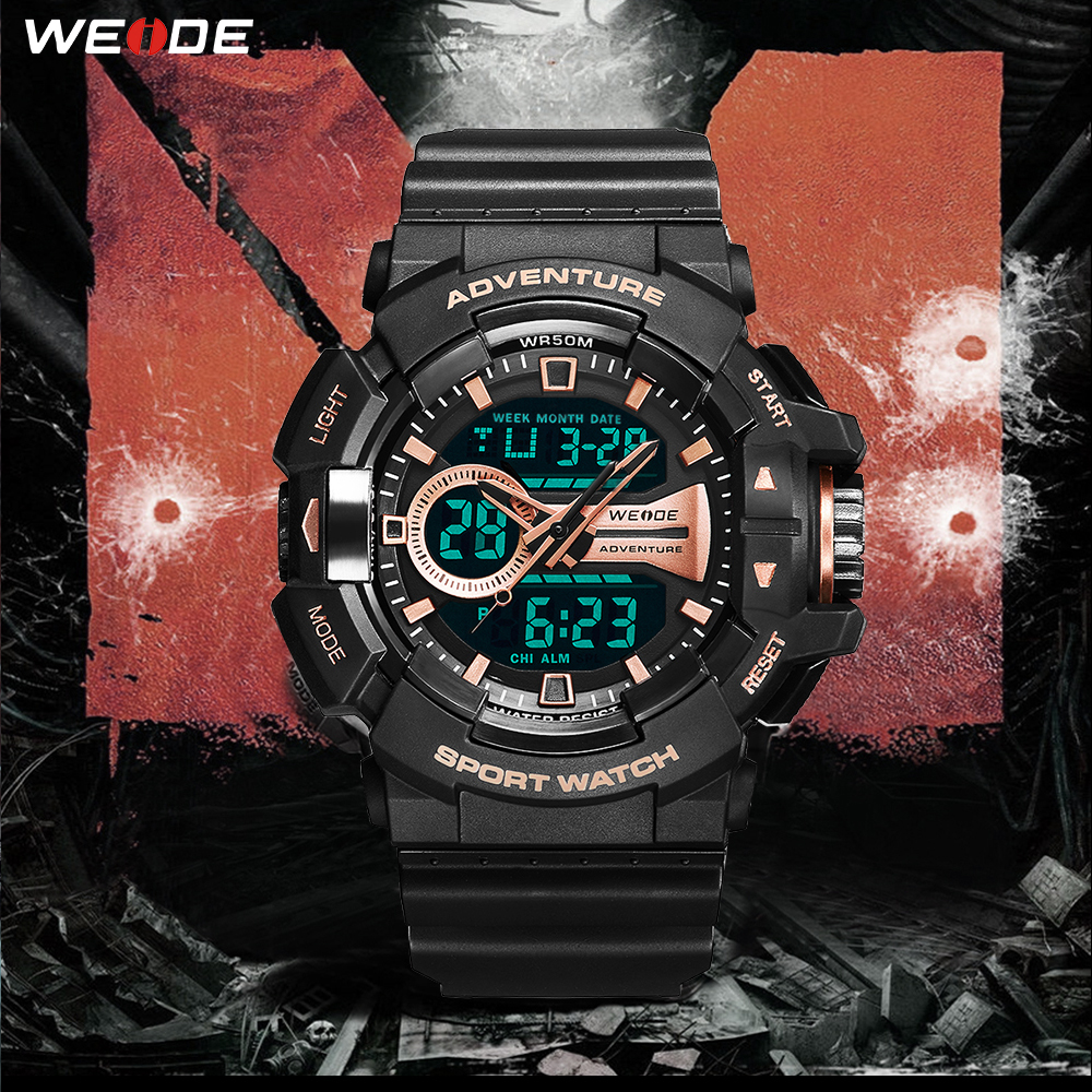 New Design WEIDE LCD Digital watch 50 meters waterproof Fashion Luxury Brand Military Army Electronic Big Dial Man Wristwatches