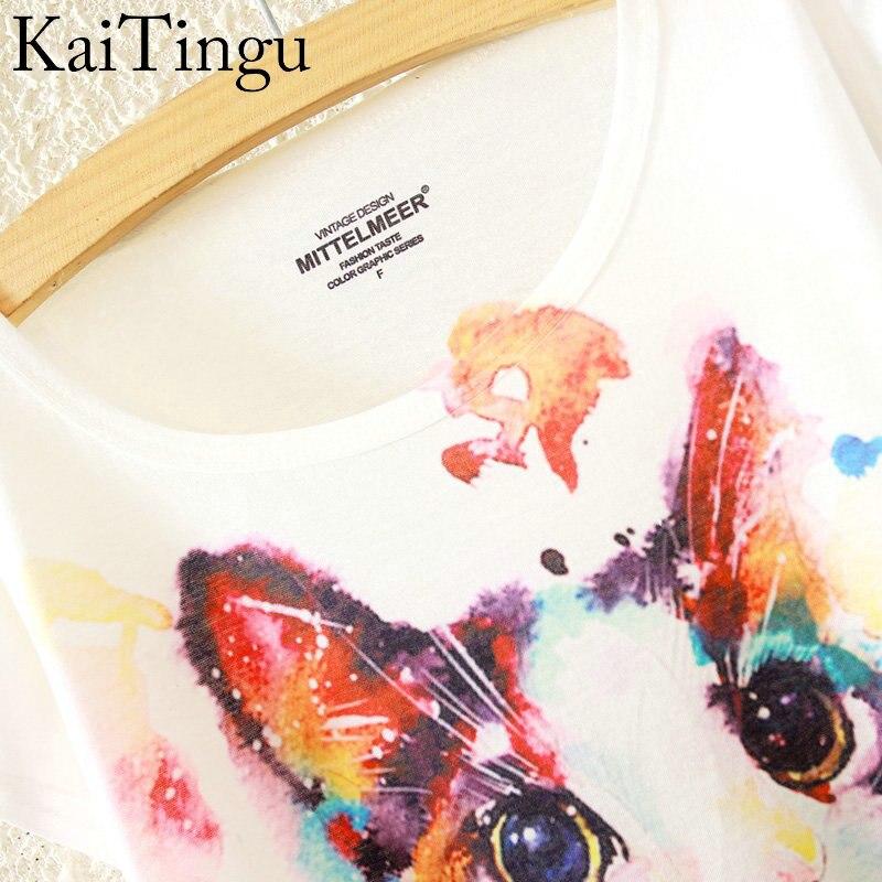 HTB1TT8LLpXXXXcVXFXXq6xXFXXXp - New Fashion Summer Animal Cat Print Shirt O-Neck Short Sleeve T Shirt