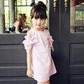 С плеча подростка, девочки платья весна лето платье девушки детей 2017 хлопок лук красный розовый полосатый девушки детская одежда