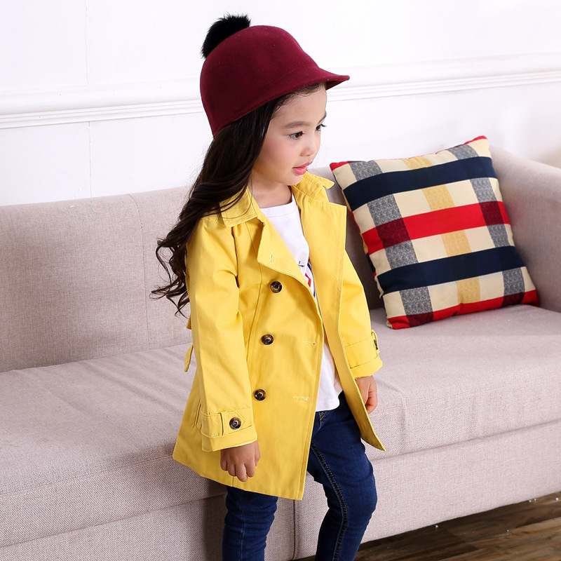 Children's Windbreaker For Girls Kids Outerwear For Girl Spring Autumn Solid Kids Clothes Age 3-10Y Children   Trench   Coats