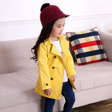 Children's Windbreaker For Girls Kids Outerwear For Girl Spring Autumn Solid Kids Clothes Age 3-10Y