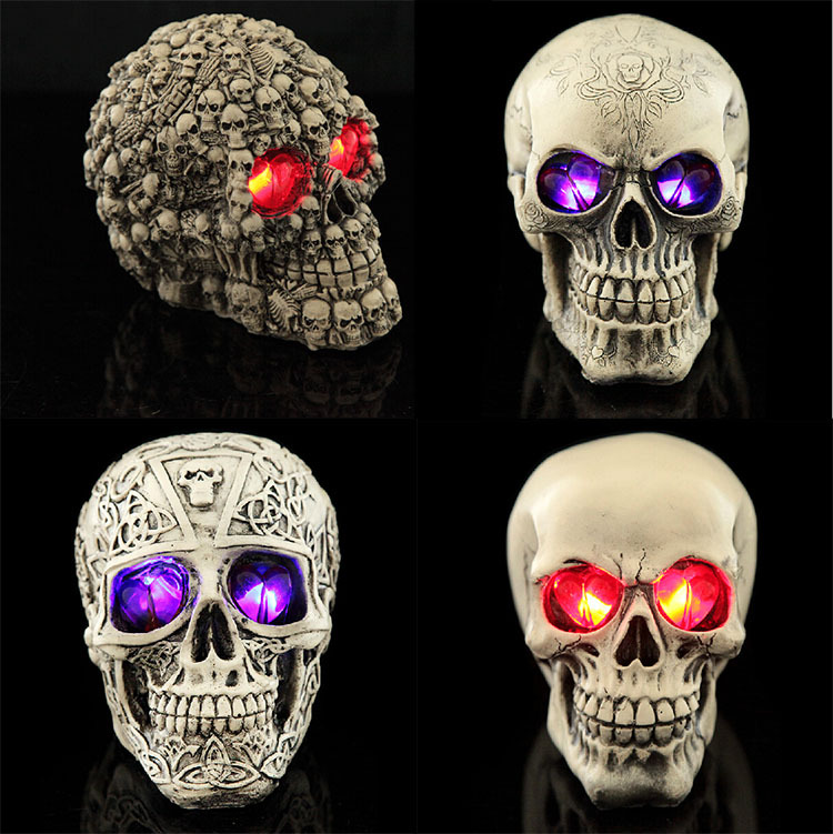 Led Human Shape Skeleton Head Homosapiens Skull Statue Figurine Demon Evil Home Decoration Accessories Halloween Scary Party
