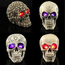 Led Human Shape Skeleton Head Homosapiens Skull Statue Figurine Demon Evil Home Decoration Accessories Halloween Scary Party(China)