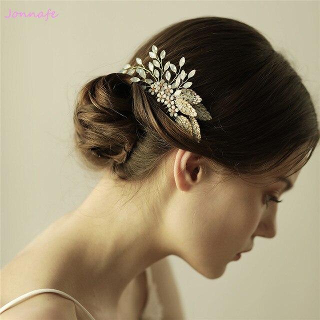 Jonnafe Pretty Gold Leaf Hair Comb Bridal Headpiece Opal Crystal Wedding  Hair Jewelry Accessories Women Tiara f99bd1e5b61