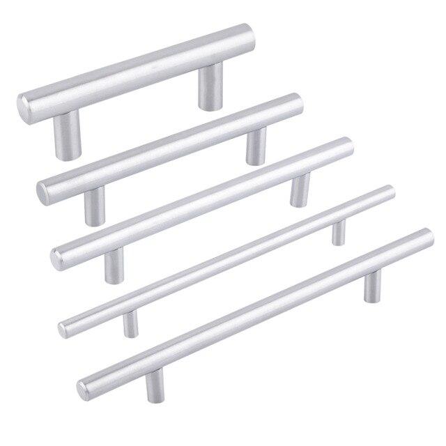 2017 Practical Kitchen Cabinet Handles Hole Cebter 64mm~300mm Stainless Steel Door T Bar Knob Furniture Drawer Handles Pulls