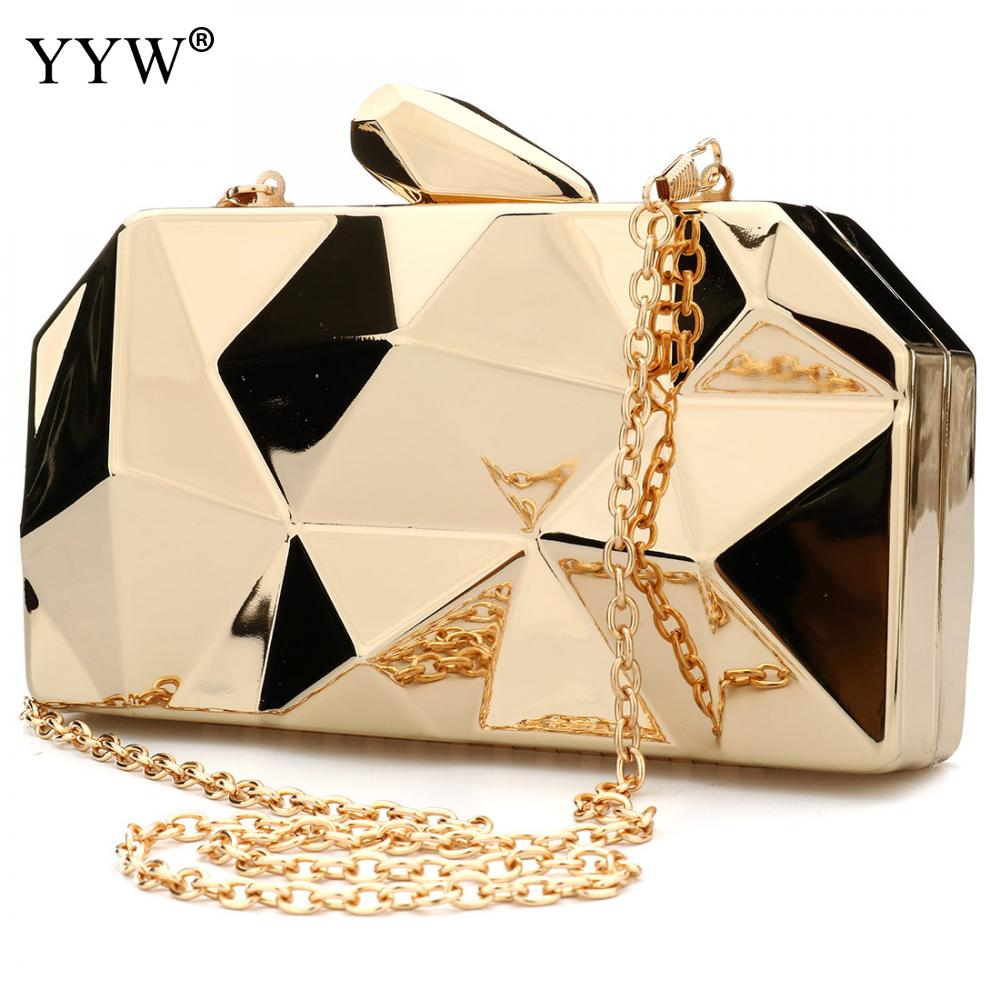 Fashion Zinc Alloy Solid Metal Bags Gold Ladies Evening Party Mini Clutches Purse