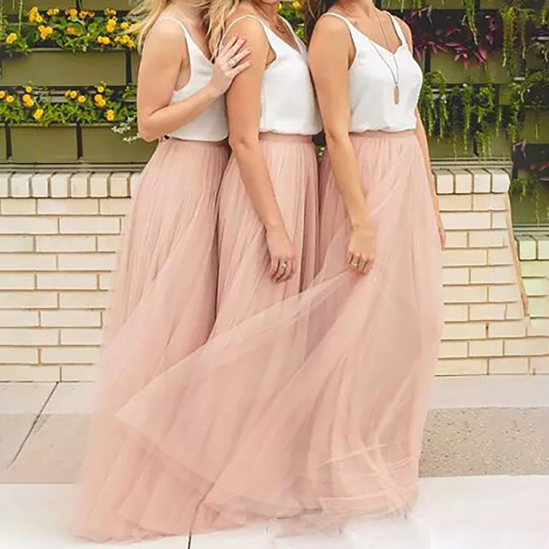 2019 Women Summer Tulle Skirt Bridesmaid Long Skirt Blush Prom skirts/Bridesmaid Maxi Skirt Evening Party Gowns Vestidos