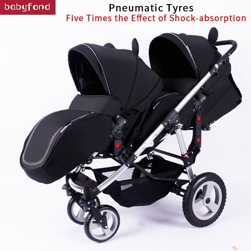 Garçon et fille poussette jumelle deux voies bébé poussette lumière et pliable bébé parapluie chariots peuvent s'asseoir et mentir chariot marque bébé voiture