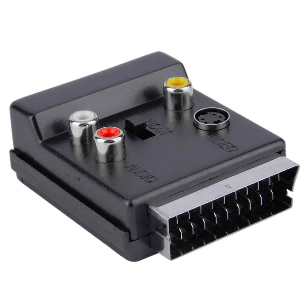 Newest Switchable Scart Male to Female S-Video 3 RCA Audio Adapter Convector