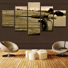 Wall Art Landscape Canvas Paintings Living Room Decor Poster 5 Piece Fly Rod Fishing Modular Retro Pictures Framework