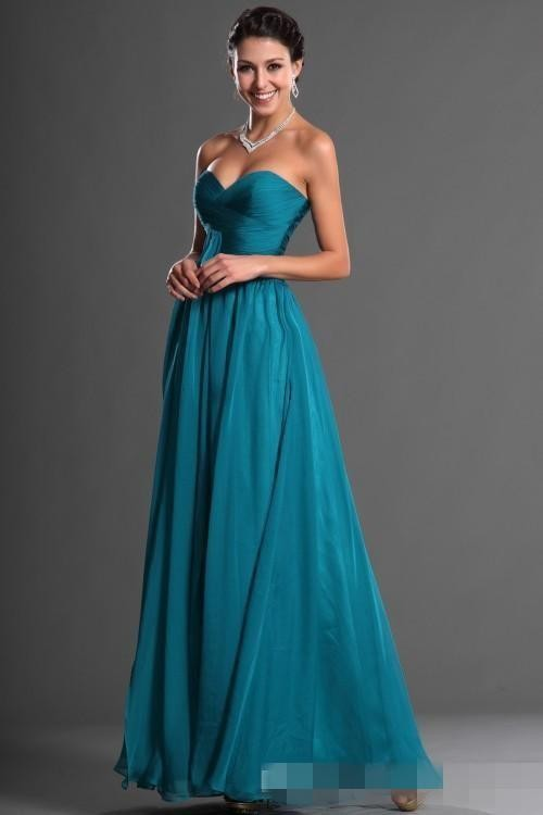 Dark Teal Blue Long Bridesmaid Dresses