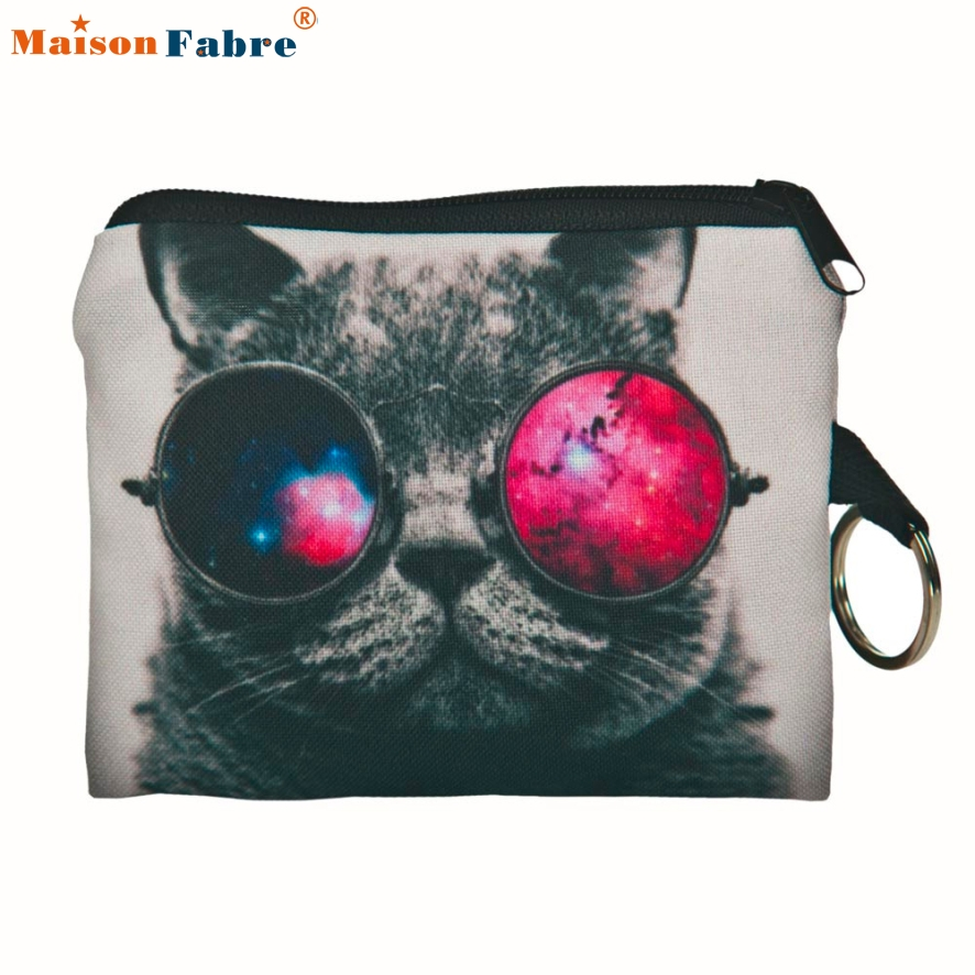 New Fashion Women Coin Purse Children Cute Cat Printing Coin Purse Change Kids Wallet Bag Change Pouch Key Holder Maison Fabre 2015 new arrival kids rabbit animal pattern wallet children baby purse women girl coin bag key pouch for birthday gift