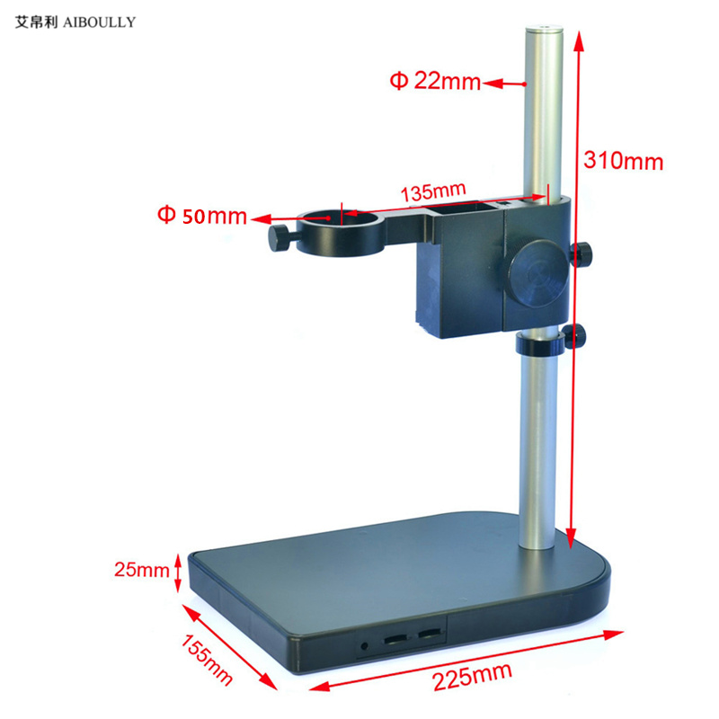 AIBOULLY For the electron microscope stand 22mm interface 50mm aperture single tube microscope universal adjustment bracket single electron devices and circuits design