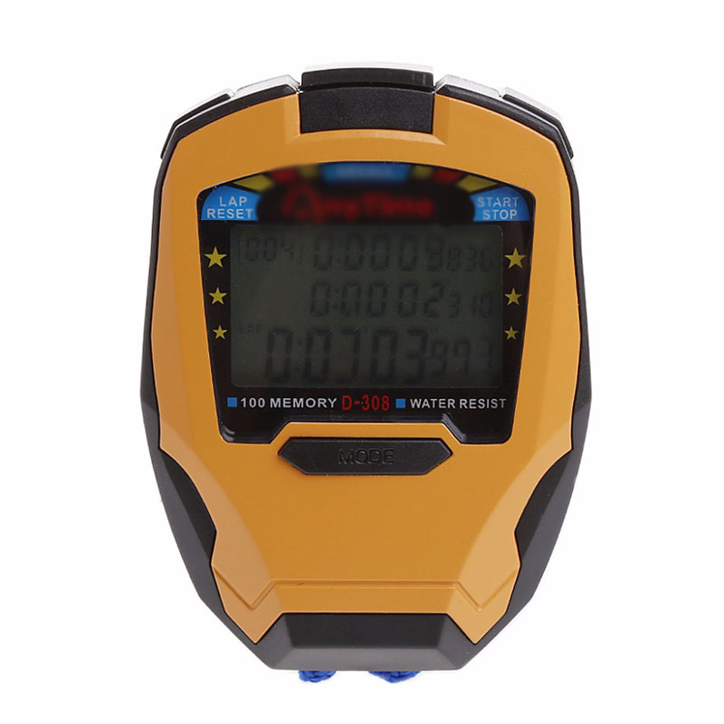 Digital Sports Counter Timer Professional Athletic Stopwatch 3 Row100 Lap 1/1000s 1 set v2 plastic motorcycle lap timer outdoor motor racing track infrared ultrared tool device lap time 1 second interval time