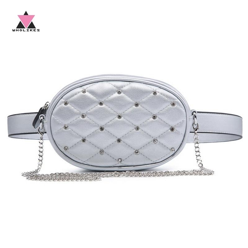 Wholikes Diamond Σχεδιασμός πακέτα μέσης ασημένια καπιτονέ PU δέρμα ... 31377545703