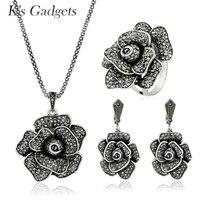 K's Gadżety Kobiety Czarny Kryształ Wielki Kwiat Zestaw Biżuterii Antyczne Srebro Kolor Komunikat Naszyjnik Kolczyk Pierścień Rocznika Biżuterii
