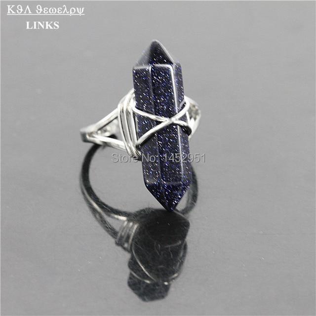 Healing Blau Sand Hexagon Prism Punkt Stein Ring, Druzy Doppelpunkt ...