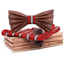 Zebra Wood Handmade 3D Bow Tie Set and Hankerchief Bowtie Necktie Cufflinks Wedding Suit Gravata Gift mens tie Butterfly