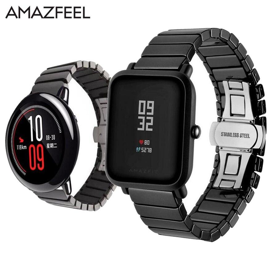 Amazfeel En Céramique Bande pour Xiaomi Huami Amazfit Stratos rythme 2 Amazfit bip peu Montre Smart Watch Bracelet Band 22 MM 20 MM Bracelet remplacer